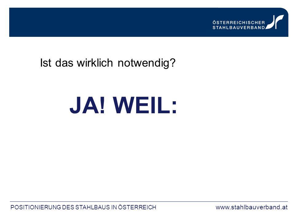Ist das wirklich notwendig? JA! WEIL: POSITIONIERUNG DES STAHLBAUS IN ÖSTERREICH www.stahlbauverband.at