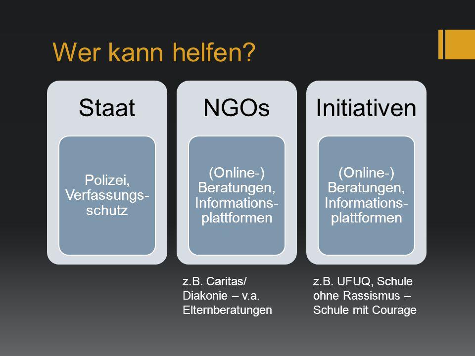 Wer kann helfen? Staat Polizei, Verfassungs- schutz NGOs (Online-) Beratungen, Informations- plattformen Initiativen (Online-) Beratungen, Information