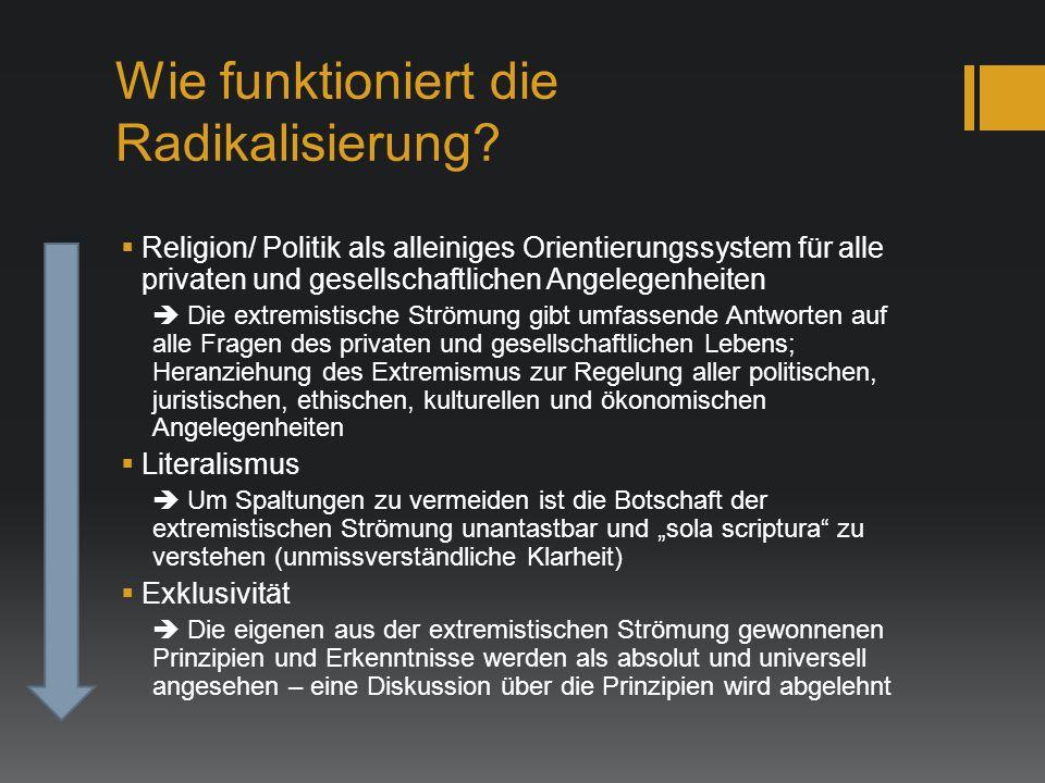 Wie funktioniert die Radikalisierung?  Religion/ Politik als alleiniges Orientierungssystem für alle privaten und gesellschaftlichen Angelegenheiten