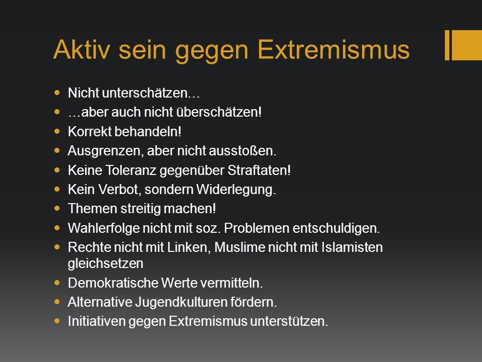 Aktiv sein gegen Extremismus Nicht unterschätzen… …aber auch nicht überschätzen! Korrekt behandeln! Ausgrenzen, aber nicht ausstoßen. Keine Toleranz g