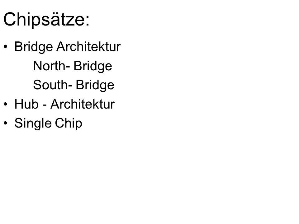 Chipsätze: Bridge Architektur North- Bridge South- Bridge Hub - Architektur Single Chip