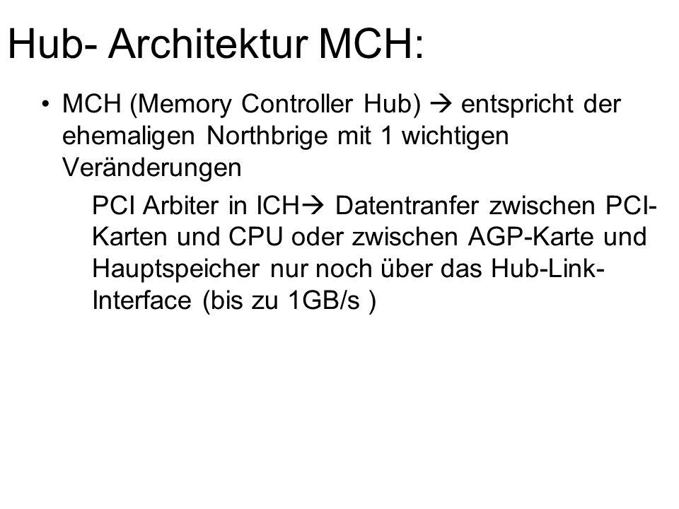 Hub- Architektur MCH: MCH (Memory Controller Hub)  entspricht der ehemaligen Northbrige mit 1 wichtigen Veränderungen PCI Arbiter in ICH  Datentranfer zwischen PCI- Karten und CPU oder zwischen AGP-Karte und Hauptspeicher nur noch über das Hub-Link- Interface (bis zu 1GB/s )