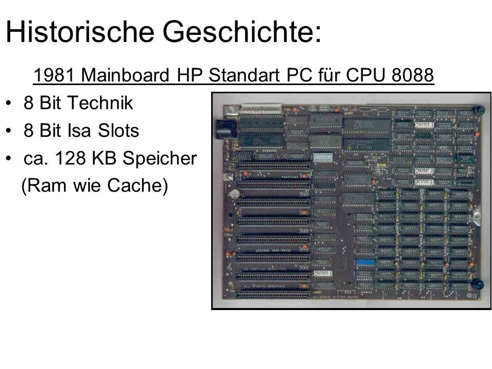 Historische Geschichte: 1981 Mainboard HP Standart PC für CPU 8088 8 Bit Technik 8 Bit Isa Slots ca. 128 KB Speicher (Ram wie Cache)