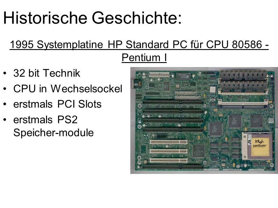 Historische Geschichte: 1995 Systemplatine HP Standard PC für CPU 80586 - Pentium I 32 bit Technik CPU in Wechselsockel erstmals PCI Slots erstmals PS2 Speicher-module
