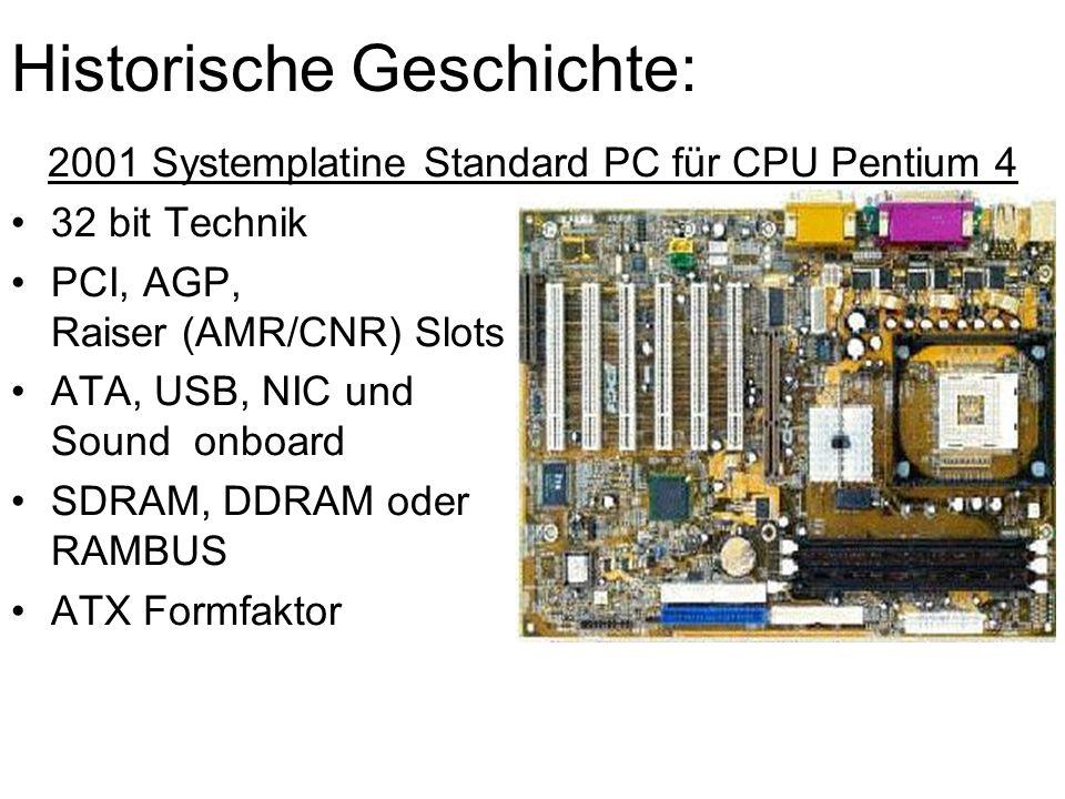 Historische Geschichte: 2001 Systemplatine Standard PC für CPU Pentium 4 32 bit Technik PCI, AGP, Raiser (AMR/CNR) Slots ATA, USB, NIC und Sound onboard SDRAM, DDRAM oder RAMBUS ATX Formfaktor