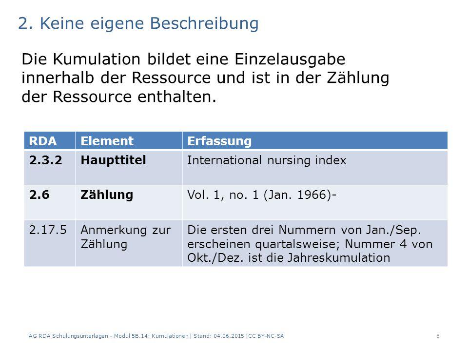 AG RDA Schulungsunterlagen – Modul 5B.14: Kumulationen | Stand: 04.06.2015 |CC BY-NC-SA6 RDAElementErfassung 2.3.2HaupttitelInternational nursing index 2.6ZählungVol.