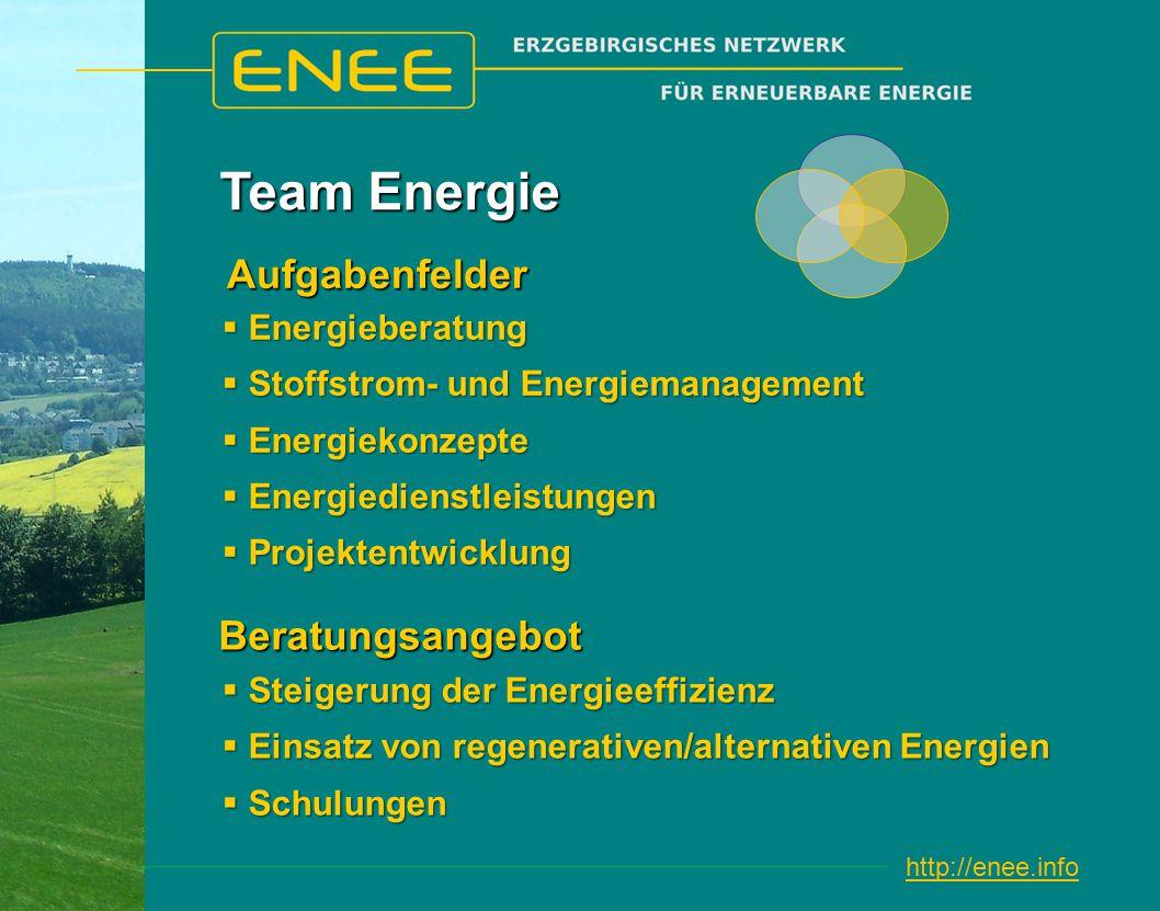 http://enee.info Team Energie  Steigerung der Energieeffizienz  Einsatz von regenerativen/alternativen Energien  Schulungen Beratungsangebot  Energieberatung  Stoffstrom- und Energiemanagement  Energiekonzepte  Energiedienstleistungen  Projektentwicklung Aufgabenfelder