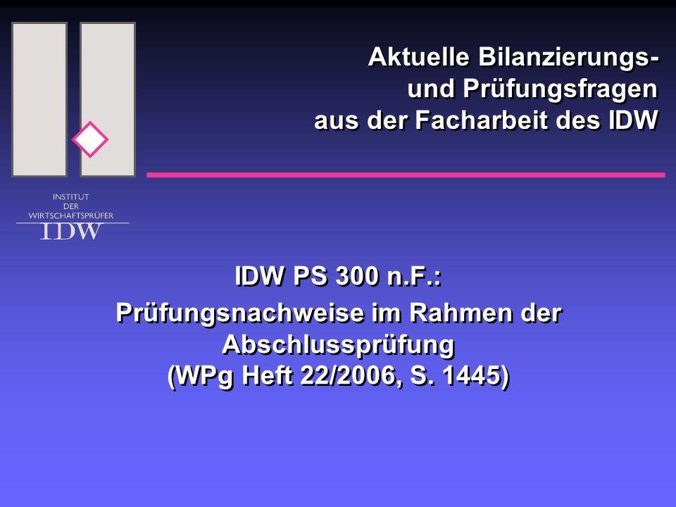 IDW PS 300 n.F.: Prüfungsnachweise im Rahmen der Abschlussprüfung (WPg Heft 22/2006, S.