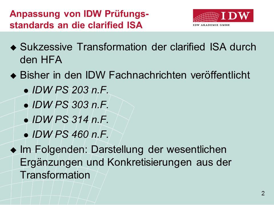 2 Anpassung von IDW Prüfungs- standards an die clarified ISA  Sukzessive Transformation der clarified ISA durch den HFA  Bisher in den IDW Fachnachr