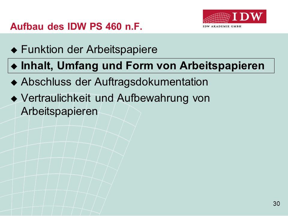30 Aufbau des IDW PS 460 n.F.  Funktion der Arbeitspapiere  Inhalt, Umfang und Form von Arbeitspapieren  Abschluss der Auftragsdokumentation  Vert