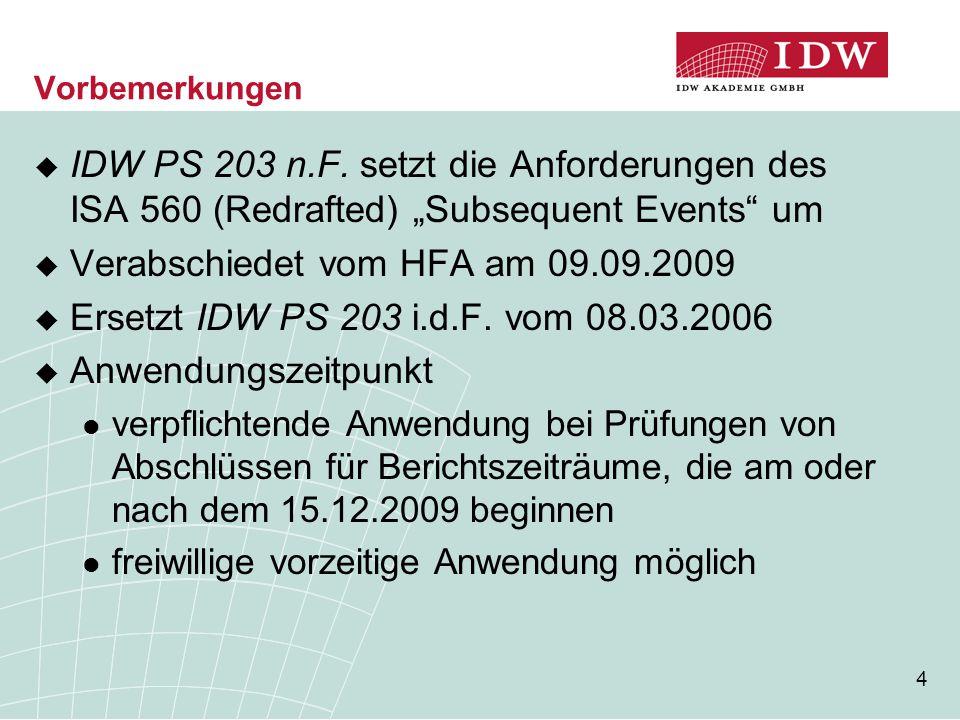 """4 Vorbemerkungen  IDW PS 203 n.F. setzt die Anforderungen des ISA 560 (Redrafted) """"Subsequent Events"""" um  Verabschiedet vom HFA am 09.09.2009  Erse"""