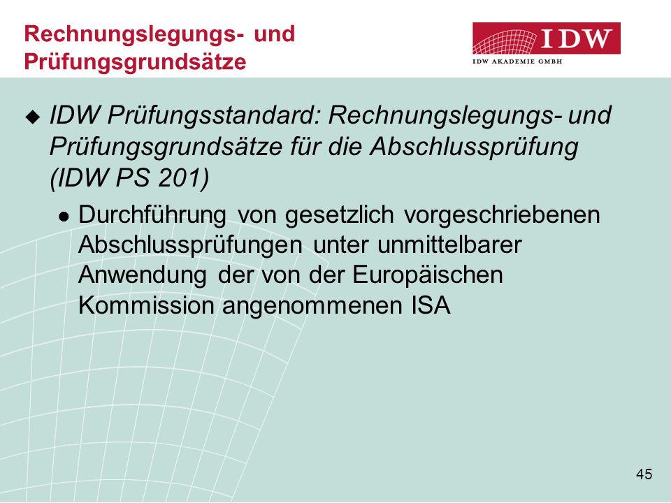 45 Rechnungslegungs- und Prüfungsgrundsätze  IDW Prüfungsstandard: Rechnungslegungs- und Prüfungsgrundsätze für die Abschlussprüfung (IDW PS 201) Dur