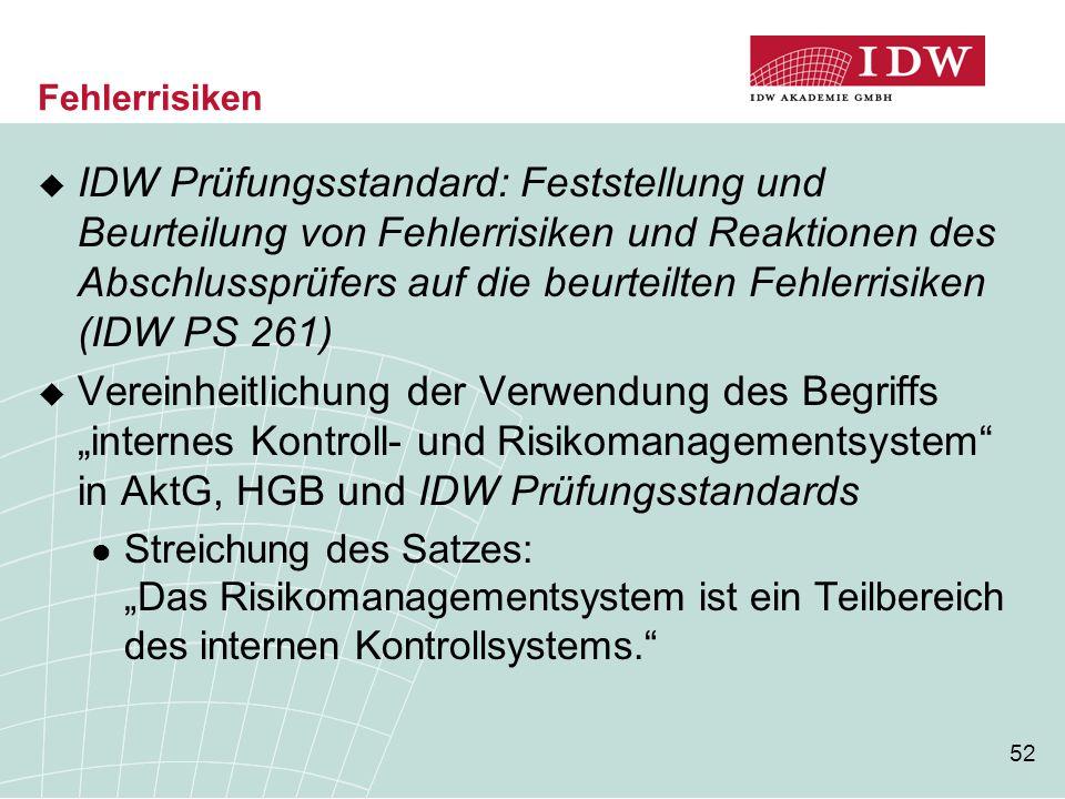 52 Fehlerrisiken  IDW Prüfungsstandard: Feststellung und Beurteilung von Fehlerrisiken und Reaktionen des Abschlussprüfers auf die beurteilten Fehler
