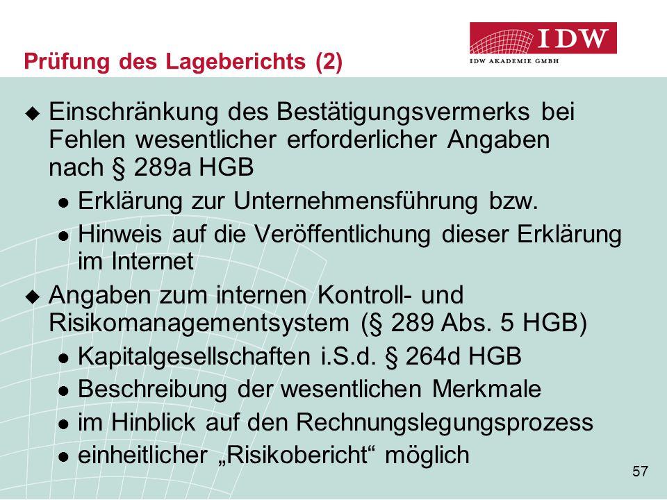 57 Prüfung des Lageberichts (2)  Einschränkung des Bestätigungsvermerks bei Fehlen wesentlicher erforderlicher Angaben nach § 289a HGB Erklärung zur