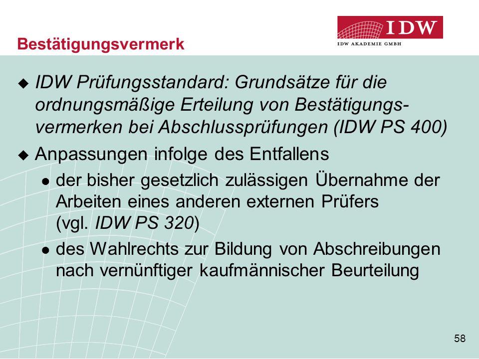 58 Bestätigungsvermerk  IDW Prüfungsstandard: Grundsätze für die ordnungsmäßige Erteilung von Bestätigungs- vermerken bei Abschlussprüfungen (IDW PS