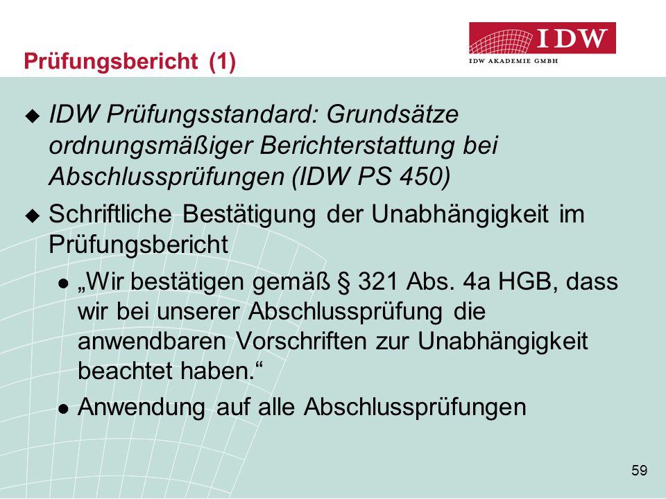 59 Prüfungsbericht (1)  IDW Prüfungsstandard: Grundsätze ordnungsmäßiger Berichterstattung bei Abschlussprüfungen (IDW PS 450)  Schriftliche Bestäti