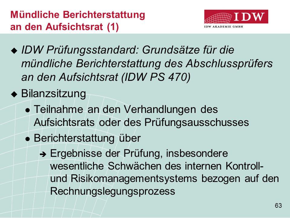 63 Mündliche Berichterstattung an den Aufsichtsrat (1)  IDW Prüfungsstandard: Grundsätze für die mündliche Berichterstattung des Abschlussprüfers an
