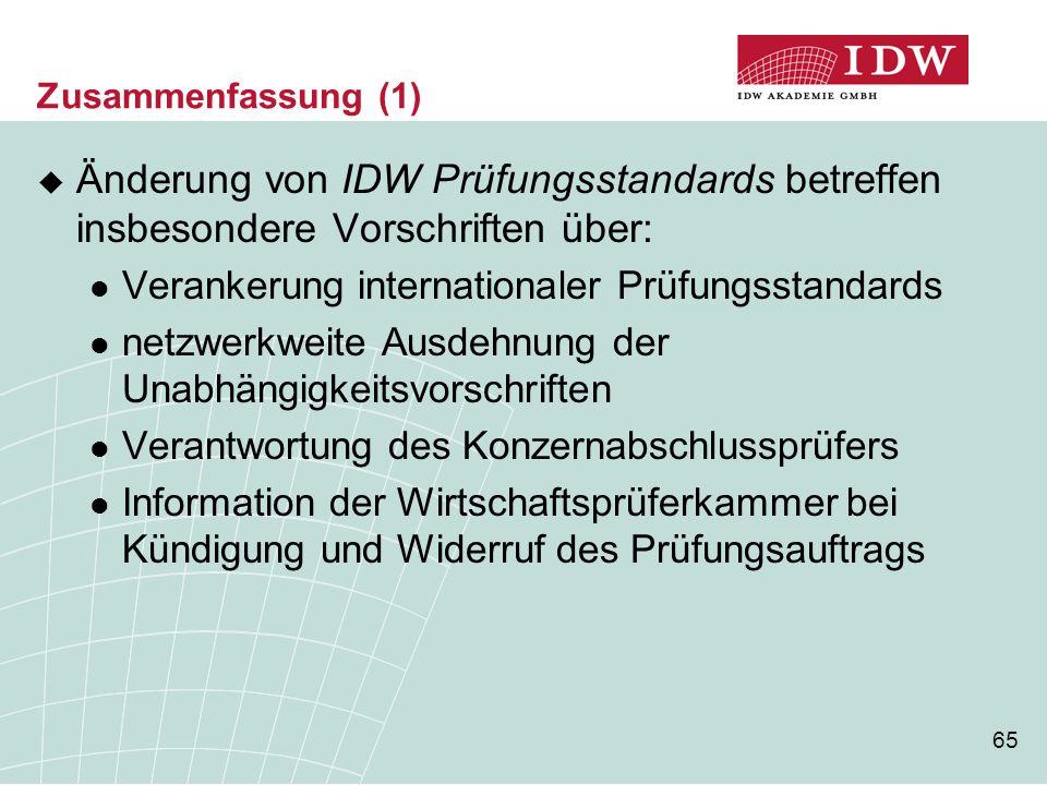 65 Zusammenfassung (1)  Änderung von IDW Prüfungsstandards betreffen insbesondere Vorschriften über: Verankerung internationaler Prüfungsstandards ne