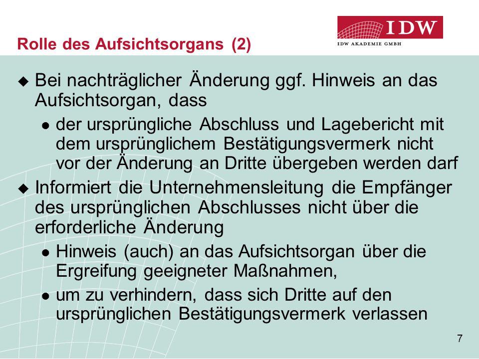 48 Beauftragung (1)  IDW Prüfungsstandard: Beauftragung des Abschlussprüfers (IDW PS 220)  Neuregelungen zur Bestellung des Abschlussprüfers Vorschlag zur Wahl des Abschlussprüfers ist bei kapitalmarktorientierten Kapitalgesellschaften i.S.d.