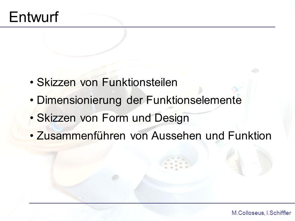 M.Colloseus, I.Schiffler Entwurf Skizzen von Funktionsteilen Dimensionierung der Funktionselemente Skizzen von Form und Design Zusammenführen von Auss