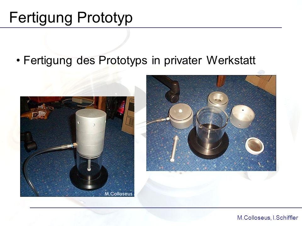 M.Colloseus, I.Schiffler Fertigung Prototyp Fertigung des Prototyps in privater Werkstatt