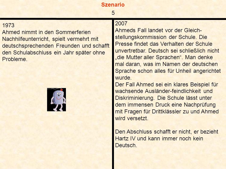 Szenario 1973 Ahmed nimmt in den Sommerferien Nachhilfeunterricht, spielt vermehrt mit deutschsprechenden Freunden und schafft den Schulabschluss ein Jahr später ohne Probleme.