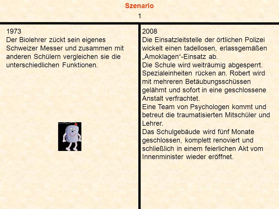 Szenario 1973 Der Biolehrer zückt sein eigenes Schweizer Messer und zusammen mit anderen Schülern vergleichen sie die unterschiedlichen Funktionen.
