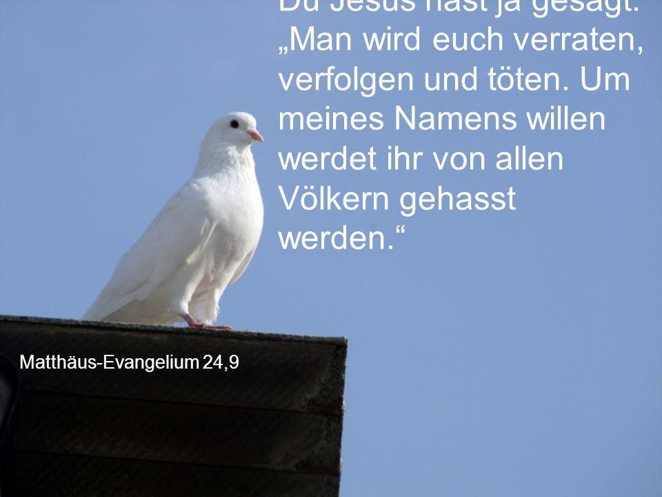 """Matthäus-Evangelium 24,9 Du Jesus hast ja gesagt: """"Man wird euch verraten, verfolgen und töten. Um meines Namens willen werdet ihr von allen Völkern g"""