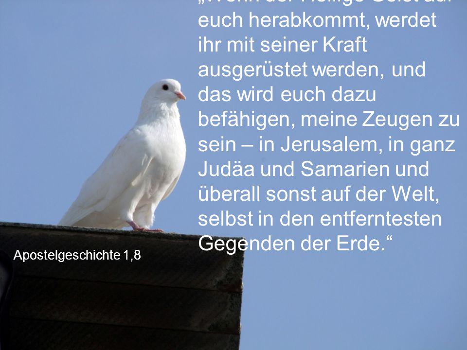 """Apostelgeschichte 1,8 """"Wenn der Heilige Geist auf euch herabkommt, werdet ihr mit seiner Kraft ausgerüstet werden, und das wird euch dazu befähigen, m"""