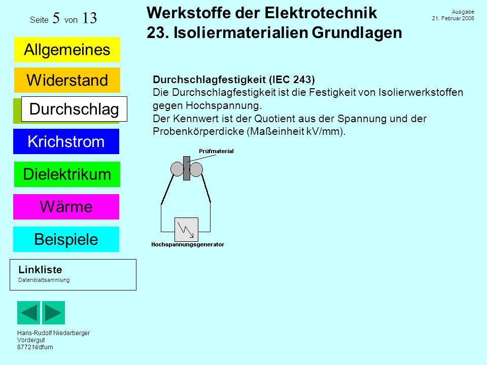 Hans-Rudolf Niederberger Vordergut 8772 Nidfurn Ausgabe 21. Februar 2006 Allgemeines Widerstand Dielektrikum Werkstoffe der Elektrotechnik 23. Isolier