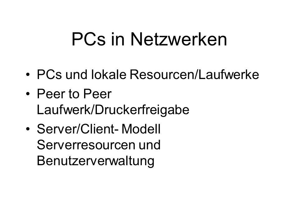 PCs in Netzwerken PCs und lokale Resourcen/Laufwerke Peer to Peer Laufwerk/Druckerfreigabe Server/Client- Modell Serverresourcen und Benutzerverwaltung