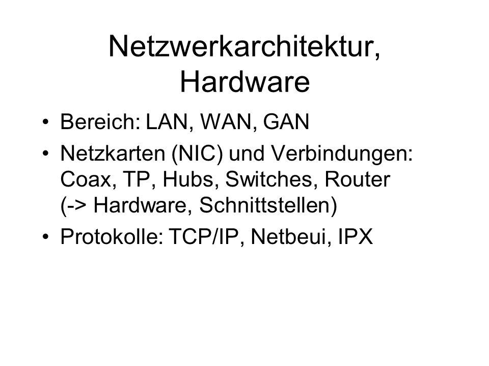 Netzwerkarchitektur, Hardware Bereich: LAN, WAN, GAN Netzkarten (NIC) und Verbindungen: Coax, TP, Hubs, Switches, Router (-> Hardware, Schnittstellen) Protokolle: TCP/IP, Netbeui, IPX