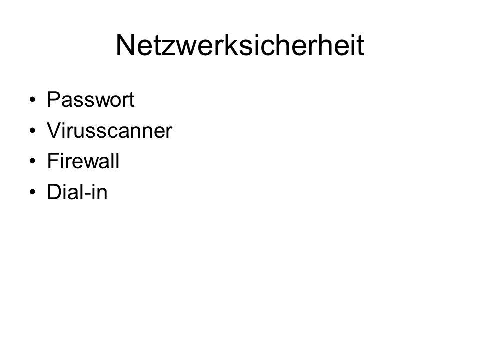 Netzwerksicherheit Passwort Virusscanner Firewall Dial-in