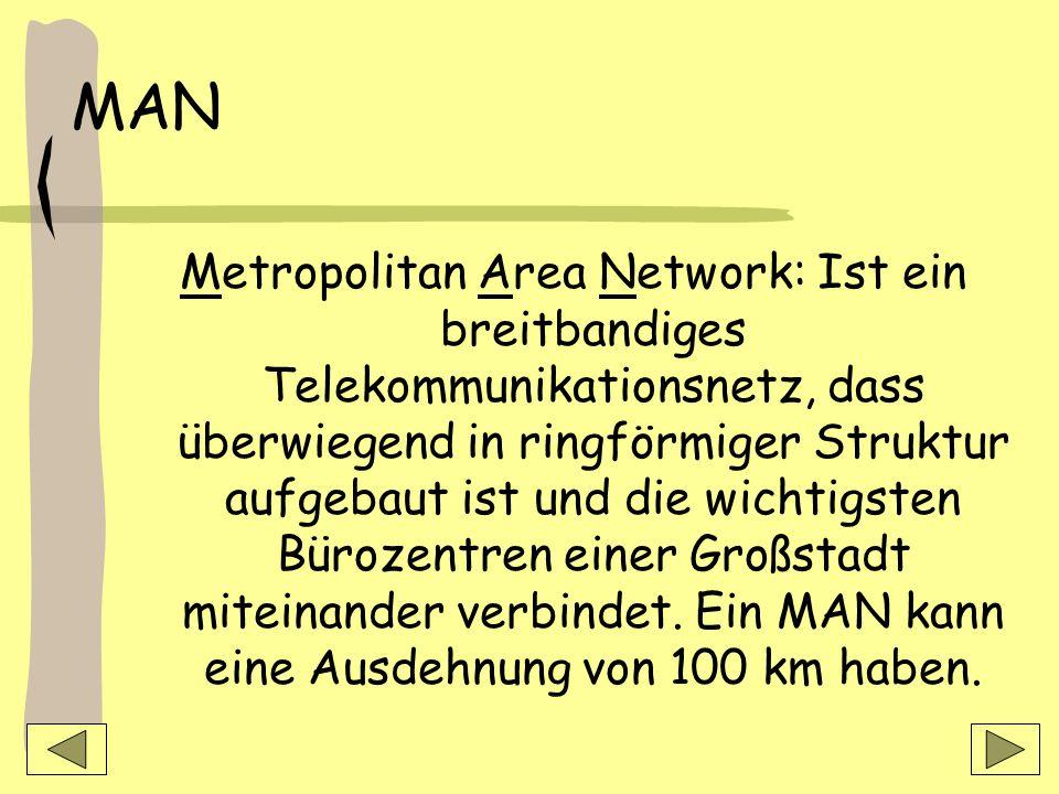 MAN Metropolitan Area Network: Ist ein breitbandiges Telekommunikationsnetz, dass überwiegend in ringförmiger Struktur aufgebaut ist und die wichtigsten Bürozentren einer Großstadt miteinander verbindet.