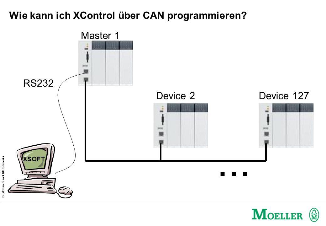 Schutzvermerk nach DIN 34 beachten Wie kann ich XControl über CAN programmieren? Master 1 Device 2Device 127... RS232 XSOFT