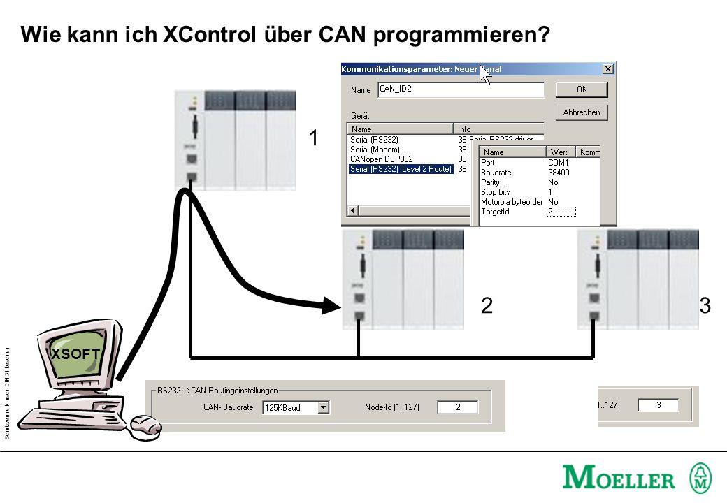 Schutzvermerk nach DIN 34 beachten Wie kann ich XControl über CAN programmieren? 1 23 XSOFT