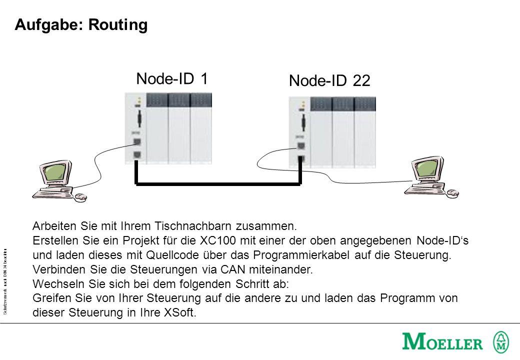 Schutzvermerk nach DIN 34 beachten Aufgabe: Routing Node-ID 1 Node-ID 22 Arbeiten Sie mit Ihrem Tischnachbarn zusammen.