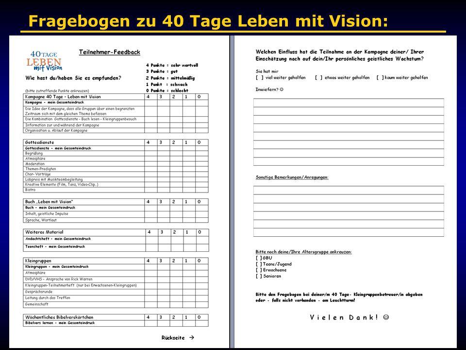 Fragebogen zu 40 Tage Leben mit Vision:
