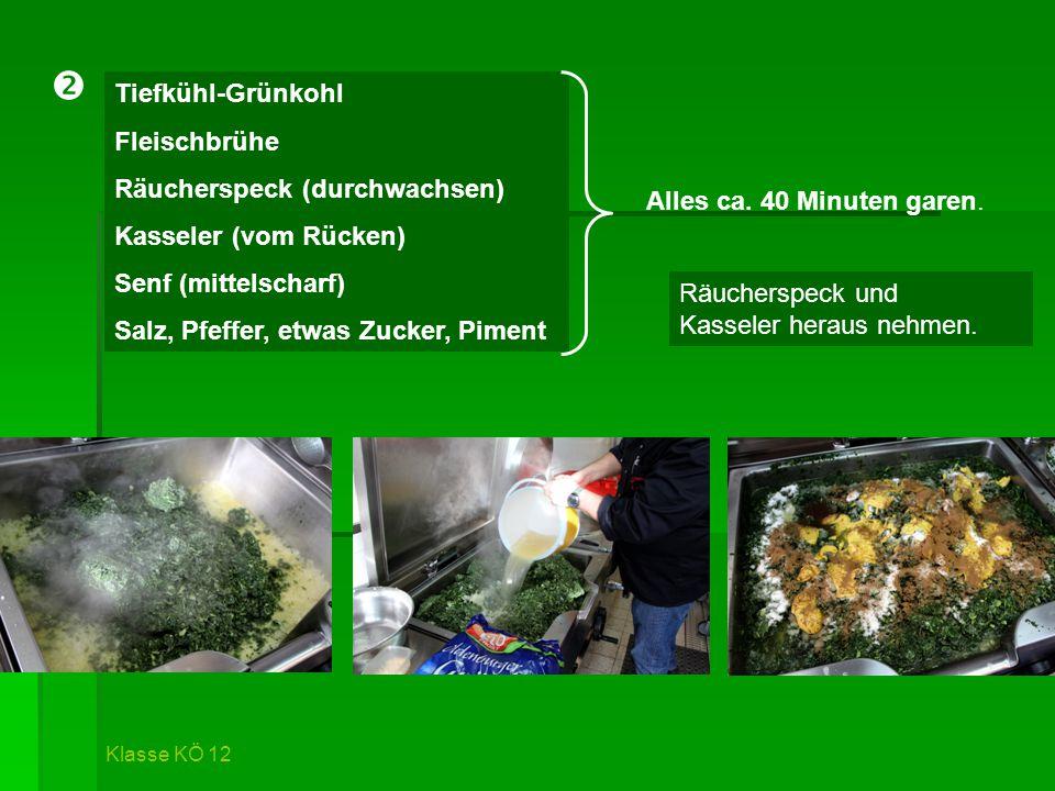 Tiefkühl-Grünkohl Fleischbrühe Räucherspeck (durchwachsen) Kasseler (vom Rücken) Senf (mittelscharf) Salz, Pfeffer, etwas Zucker, Piment Räucherspeck