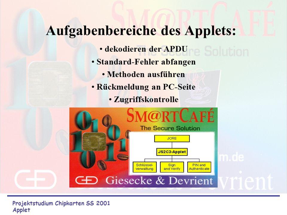 JavaCard-Applet Aufgabe: Realisierung eines Java-Applets zur Steuerung aller Vorgänge auf der Kartenseite Mitglieder: Florian Rickert Aydin Atabay Tob