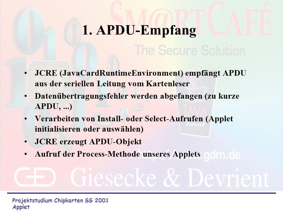 Aufgabenbereiche des Applets: Projektstudium Chipkarten SS 2001 Applet dekodieren der APDU Standard-Fehler abfangen Methoden ausführen Rückmeldung an