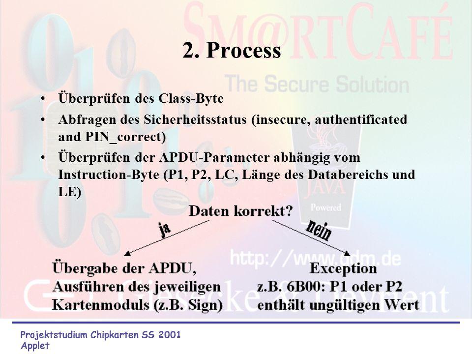 1. APDU-Empfang JCRE (JavaCardRuntimeEnvironment) empfängt APDU aus der seriellen Leitung vom Kartenleser Datenübertragungsfehler werden abgefangen (z