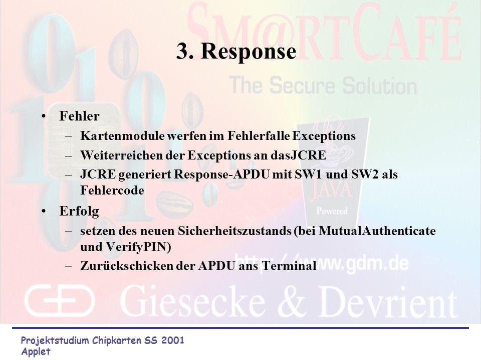 2. Process Überprüfen des Class-Byte Abfragen des Sicherheitsstatus (insecure, authentificated and PIN_correct) Überprüfen der APDU-Parameter abhängig