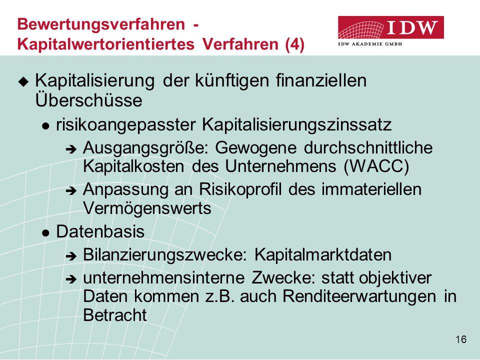 16 Bewertungsverfahren - Kapitalwertorientiertes Verfahren (4)  Kapitalisierung der künftigen finanziellen Überschüsse risikoangepasster Kapitalisier