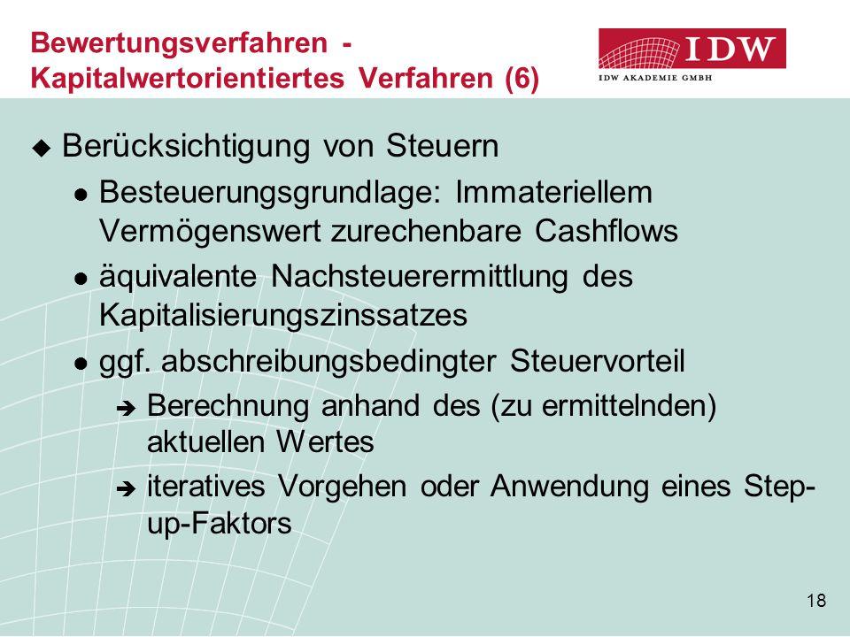 18 Bewertungsverfahren - Kapitalwertorientiertes Verfahren (6)  Berücksichtigung von Steuern Besteuerungsgrundlage: Immateriellem Vermögenswert zurec