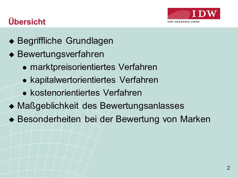 23 Besonderheiten bei der Bewertung von Marken (2)  Anwendbare Bewertungsverfahren marktpreisorientierte Verfahren  meist nicht anwendbar, da i.d.R.