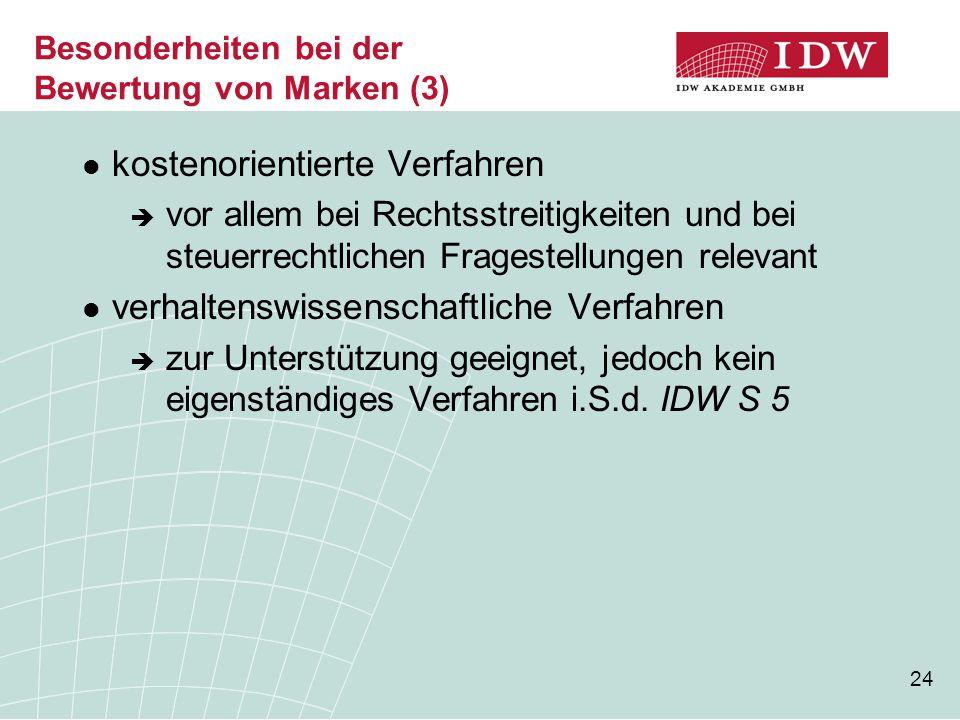 24 Besonderheiten bei der Bewertung von Marken (3) kostenorientierte Verfahren  vor allem bei Rechtsstreitigkeiten und bei steuerrechtlichen Frageste
