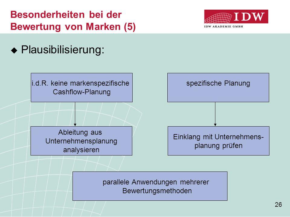 26 Besonderheiten bei der Bewertung von Marken (5)  Plausibilisierung: i.d.R. keine markenspezifische Cashflow-Planung Einklang mit Unternehmens- pla