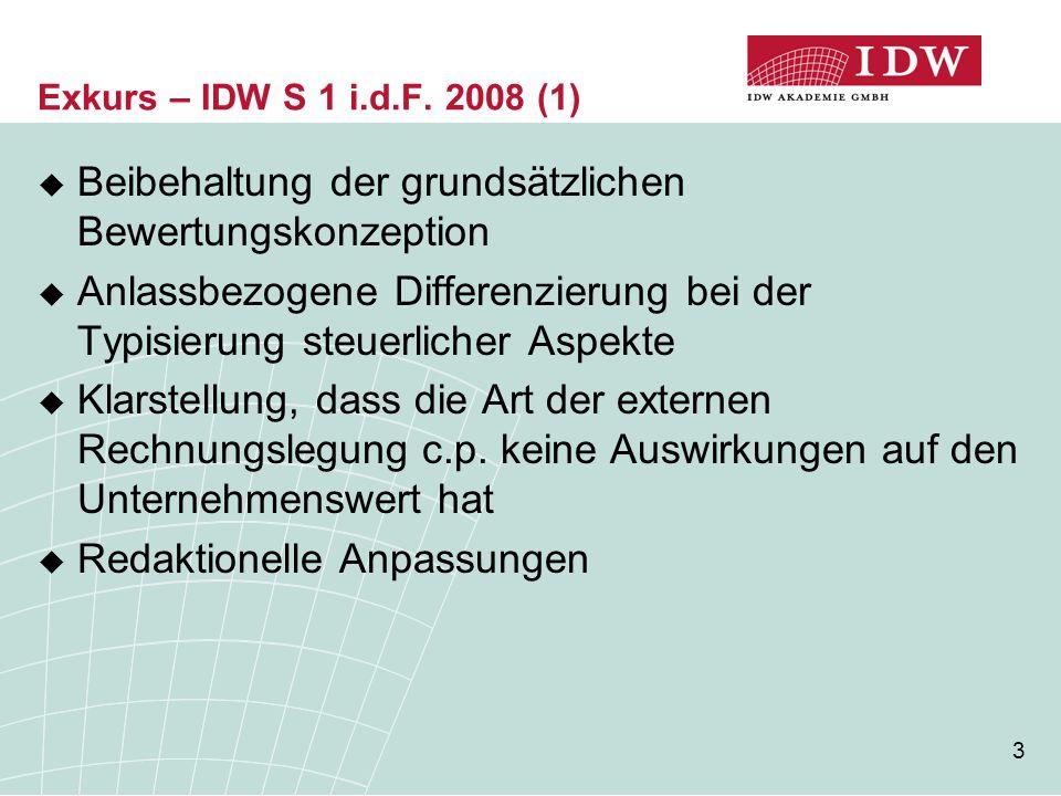 3 Exkurs – IDW S 1 i.d.F. 2008 (1)  Beibehaltung der grundsätzlichen Bewertungskonzeption  Anlassbezogene Differenzierung bei der Typisierung steuer
