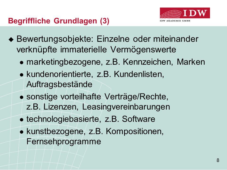 8 Begriffliche Grundlagen (3)  Bewertungsobjekte: Einzelne oder miteinander verknüpfte immaterielle Vermögenswerte marketingbezogene, z.B. Kennzeiche